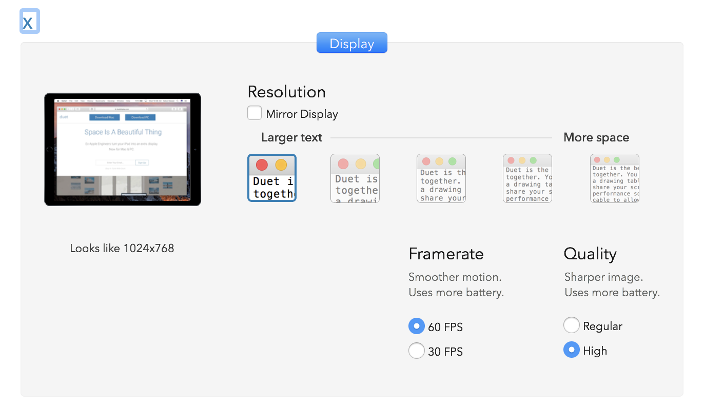 Set the lowest resolution, highest framerate, and highest quality in Duet Display