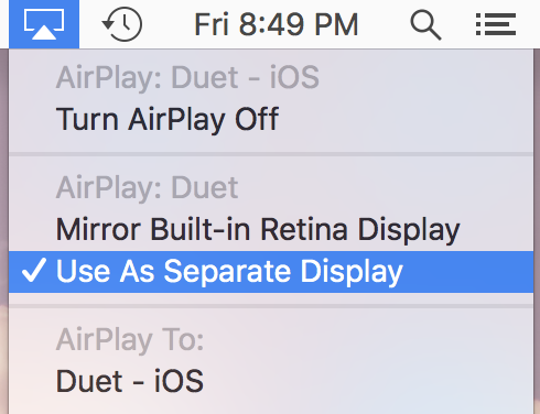 "Choose ""Use As Separate Display"" from the Airplay menu"